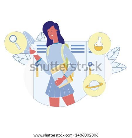 Student Waiting Lesson Flat Vector Illustration. Pupil Standing in School Corridor near Lockers. University Science Department Subjects. Magnifying Glass, Chemical Flask, Saturn Planet Icons