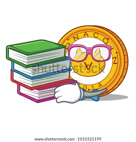 Student with book Monacoin mascot cartoon style