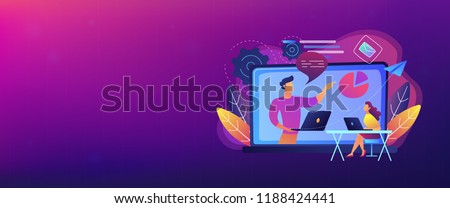Student with laptop and lector at the LCD screen. Online webinar landing page. Webinar, web seminars and peer-level web meetings, modern education. Header or Footer banner.