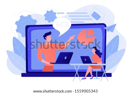 Student with laptop and lector at the LCD screen. Webinar, web seminars, webcasts, and peer-level web meetings. Modern education and collaborative sessions concept. Pink coral blue vector illustration