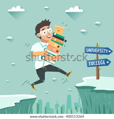 Student with pile of books jumping over the abyss or cliff. Education, Graduation concept, going to university or college. Vector colorful illustration in flat style