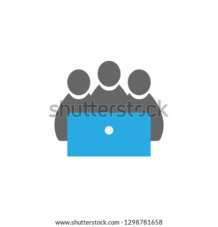 Students and computer icon. Element of education icon for mobile concept and web apps. Detailed Students and computer icon can be used for web and mobile