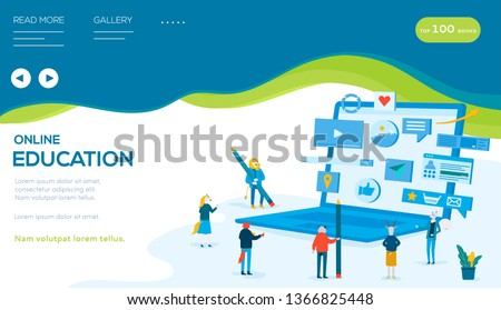 Students and teachers stand around computer with pencils. Concept of distance education, online trainings, courses, webinar, modern technologies. Vector flat design. Place for text, copy space. #1366825448