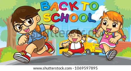 Students are running into school, Concept back to school, Cute vector, Cute cartoon