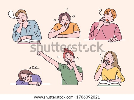 Students are sitting at the desk and yawning with a sleepy face. flat design style minimal vector illustration. ストックフォト ©
