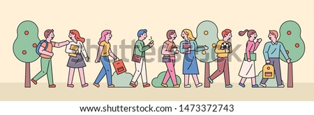 Students are walking in line and chatting. flat design style minimal vector illustration.