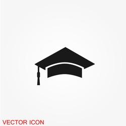 Students cap, education Icon vector