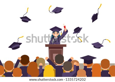 Students celebrate rejoice flying graduation hats tribune speech crowd female graduate solemn isolated character on white flat design vector illustration