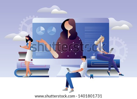 Students e-learning by webinar training and listening to businesswoman with charts on laptop. Webinar, online video training, tutorial podcast concept. Isometric 3D illustration
