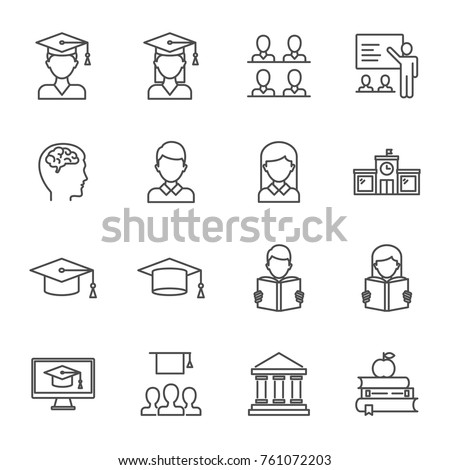 Students, education set of vector icons line style