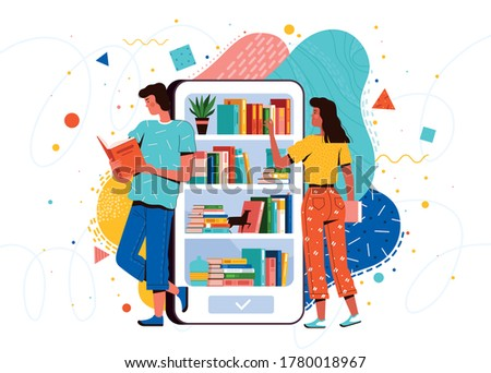 Students guy and girl read books from the mobile library in the phone. E-book reader and distance learning app concept Stockfoto ©