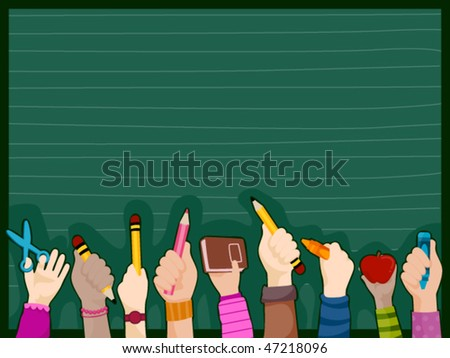 Students Hands - Vector