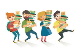 Students holding pile of books. Youth crowd with books isolated on white. Colorful vector illustration in flat style