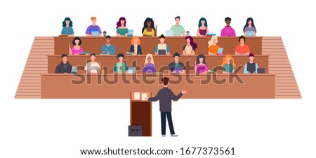 Students in lecture hall. Learning process in university, students and teacher in auditorium, professor in seminar, education vector studying concept Stock photo ©