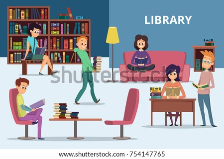 Students in library. Peoples reading books. Vector characters set. Student with book, university library illustration