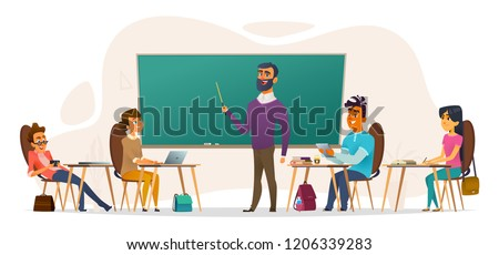 Students in the audience. Young people sitting at the tables and listening to a lecture. Flat cartoon vector illustration.