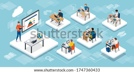 Students in the virtual classroom and teacher using a smart interactive whiteboard, e-learning and online education concept