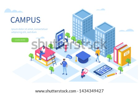 Students in university campus concept with text place. Can use for web banner, infographics, hero images. Flat isometric vector illustration isolated on white background.