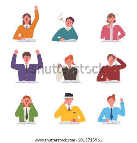 Students in various study styles sitting at their desk. vector illustration flat design