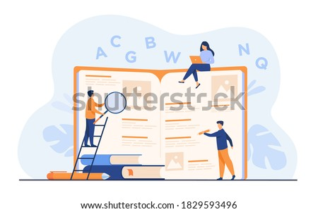 Students learning foreign language with vocabulary. Tiny people reading grammar book. Flat vector illustration for abc book, literature class, knowledge concept Stock photo ©