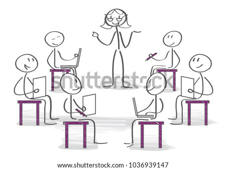 students listening explanation of female train manager during workshop sitting in office