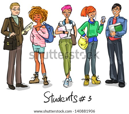 Students - part 3. Hand drawn teenagers, group of young people, set.