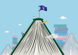 Students Reaching New Heights Through Books and Learning. Artwork of Books as a metaphor for the challenging summit of Mt Everest.