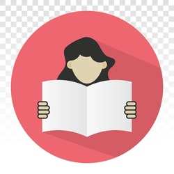 Students reading book or Learn vector flat icon for education apps and websites on a transparent background