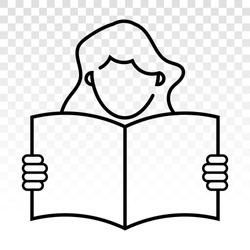 Students reading book or Learn with line art icon for education apps and websites on a transparent background