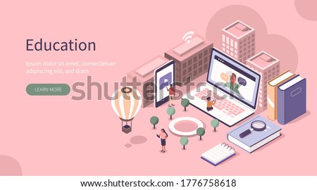 Students Study Online in University or College Campus. Girls and Boys Learning Together with Smartphone, Laptop, Books. Distance  Education Technology Concept. Flat Isometric Vector Illustration. Сток-фото ©