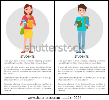 Students stylish school girl with handbag over shoulder, blue cup of coffee and textbook and freshman, backpack vector cartoon characters, text sample