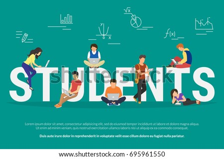 Students vector illustration of young people using laptop, tablet and smartphone for e-learning, distance studying and online education. Flat school or university people learn near letters elearning