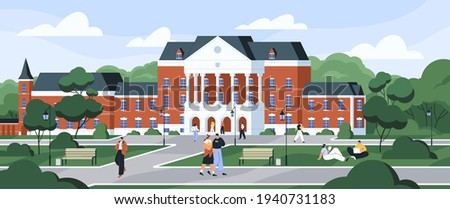 Students walking and sitting on grass at university campus. Exterior of college building among trees. Schoolhouse with columns. Colored flat vector illustration of education institution