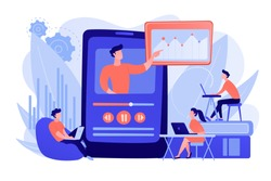 Students watching online training video with teacher and chart on tablet. Online teaching, share your knowledge, english teacher online concept. Pinkish coral bluevector isolated illustration
