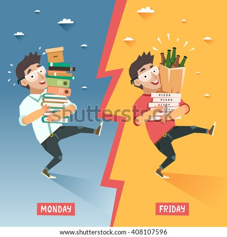 Students week concept. Overwhelmed student with pile of books VS happy relaxing student with pile of pizzas and beer bottles. Vector colorful illustration in flat style
