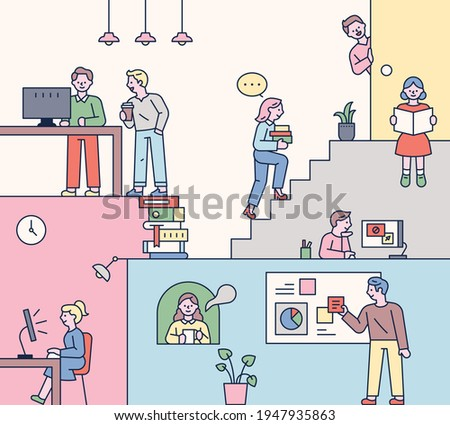 Students who study in a fun space. Space structure with stairs and characters arranged in several places. flat design style minimal vector illustration.