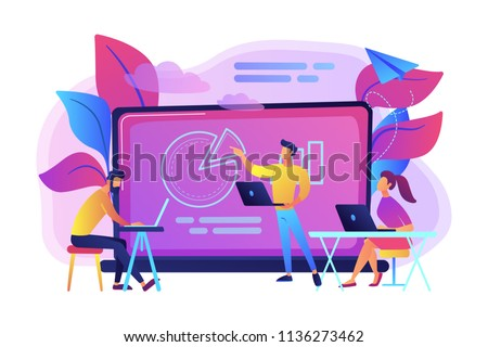 Students with laptops sitting around lector behind interactive board. Digital classroom, flipped class, blended learning and smart classroom. Modern education concept.Vector illustration on background