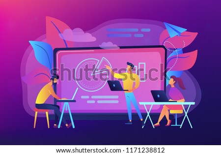 Students with laptops sitting around lector behind interactive board. Digital classroom, flipped class, smart classroom. Modern education concept.Vector illustration on ultraviolet background