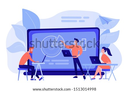 Students with laptops sitting around lector behind interactive board. Digital classroom, flipped class, blended learning and smart classroom. Modern education concept.Living coral blue vector