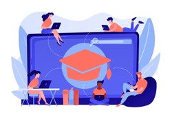 Students with laptops studying and huge laptop with graduation cap. Free online courses, online certificate courses, online business school concept. Pinkish coral bluevector isolated illustration