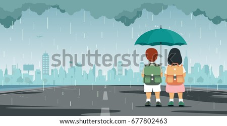 Students with umbrellas standing under the rain against building backdrop