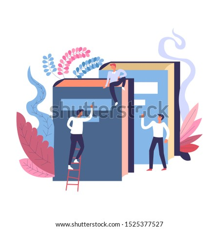 Studies research at the university library, students, classmates reading, searching books, high education, learning and college studies process concept, flat vector illustration on white background