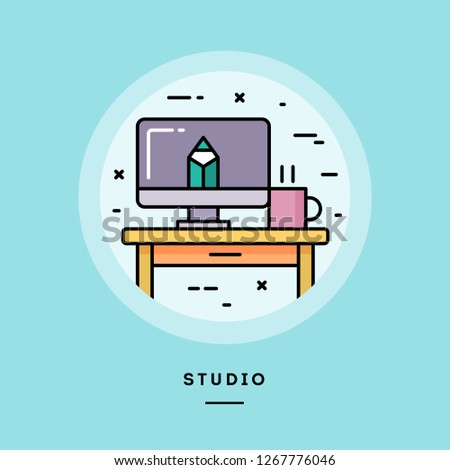 Studio, flat design thin line banner, usage for e-mail newsletters, web banners, headers, blog posts, print and more. Vector illustration.