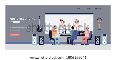 Studio for professional recording of audio, sound or music. Producer listens to singers. Equipment for production of soundtracks. Vector flat illustration. Landing page template ストックフォト ©