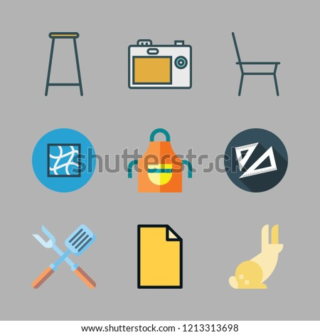 studio icon set. vector set about set square, photo camera, bar stool and apron icons set.