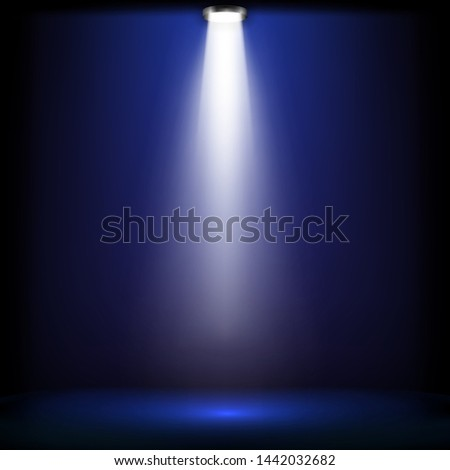Studio lights for awards ceremony with blue light.  spotlights illuminate shines on the stage. Vector illustration.