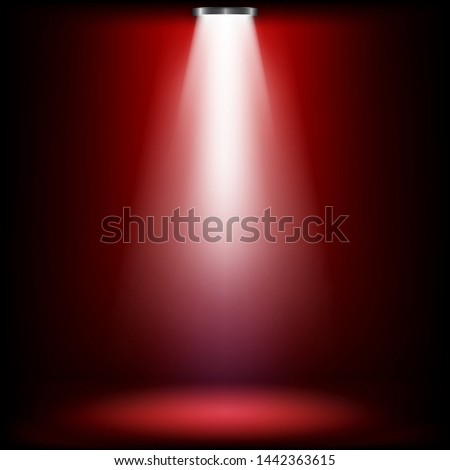 Studio lights for awards ceremony with red light.  spotlights illuminate shines on the stage. Vector illustration.