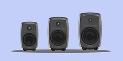 Studio monitors in vector. Speakers for application on t-shirts and bags. Professional acoustics. Sound equipment for interior design. Сomponents for recording. Surround home cinema. Picture for case.