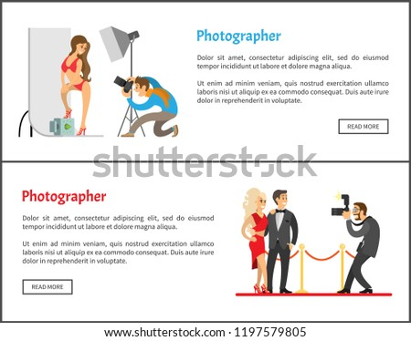 Studio photographer and paparazzi with cameras Internet banners. Model in swimsuit at backdrop, celebrities couple on red carpet vector illustrations.