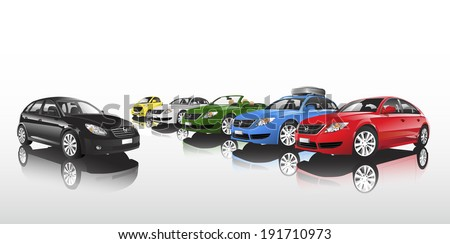 Studio shot vector of group of multi-colored cars in a row. #191710973